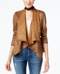 Inc International Concepts Petite Draped Faux Leather Jacket Only At Macy's Bronzed Camel