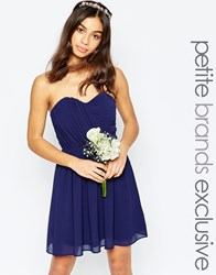 Tfnc Petite Wedding Bandeau Chiffon Mini Dress Navy