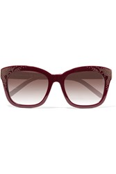 Chloe Studded Square Frame Acetate Sunglasses Red