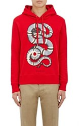 Gucci Men's Snake Graphic Cotton French Terry Hoodie Red