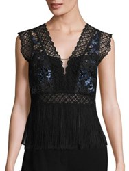 Elie Tahari Aaliyah Fringe And Lace Blouse Cobalt Multicolor