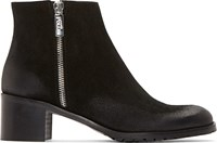Studio Pollini Black Distressed Suede Ankle Boots