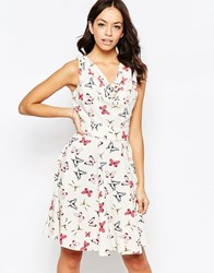 Closet Blu Cowl Neck Dress In Butterfly Print Cream