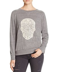 Nation Ltd. Ltd Crochet Skull Raglan Pullover 100 Bloomingdale's Exclusive Heather Grey Natural