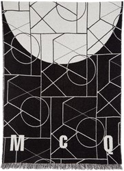 Mcq By Alexander Mcqueen Black And Off White Geometric Scarf