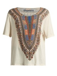 Raquel Allegra Tribal Print Cotton T Shirt White Multi