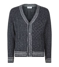Thom Browne Striped Rib Cardigan Male Dark Grey