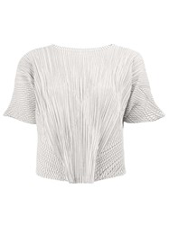 Issey Miyake Pleats Please By Cropped Pleated Blouse White