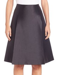 Teri Jon Silk And Wool A Line Skirt Black