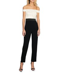 Cynthia Rowley Colorblock Off The Shoulder Jumpsuit Ivory Black