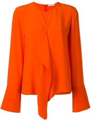 Emilio Pucci Flared Longsleeved Blouse Yellow And Orange