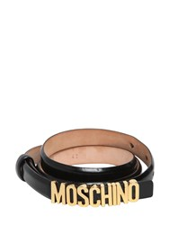 Moschino 15Mm Logo Lettering Leather Belt