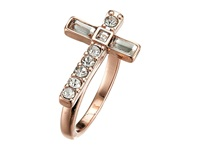 Guess Sideways Cross Ring Rose Gold Crystal Ring