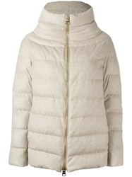 Herno High Neck Zipped Jacket Nude Neutrals