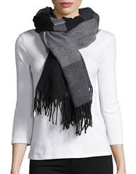 Lord And Taylor Striped Blanket Scarf Black