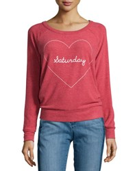 Chaser Saturday Text Back Cutout Sweater Cardinal