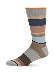 Saks Fifth Avenue Striped Combed Cotton Blend Socks Blue