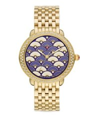 Michele Serein 16 Blue Fan Diamond And Goldtone Stainless Steel Bracelet Watch Gold Blue