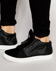 Criminal Damage Soho Mid Top Trainers Black