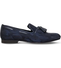 Kg By Kurt Geiger Joachim Camouflage Print Leather Slippers Blue