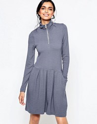 Ganni Lake Wood Dress With Wide Pleat Skirt And Zip Through Neck Smoked Pearl White