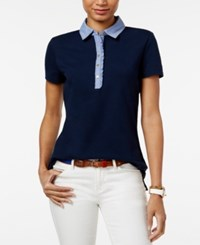 Tommy Hilfiger Felicity Ruffled Polo Top Core Navy