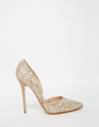 Steve Madden Varcity Gold Sequin Heeled Court Shoes Gold