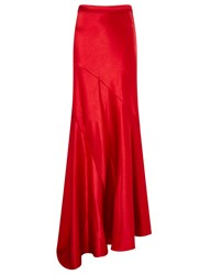 Osman Red Satin Bias Cut Nysa Skirt