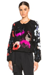 Lanvin Embroidered Jersey Blouse In Black Abstract