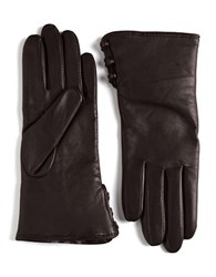 Lord And Taylor Rabbit Fur Lined Cuff Leather Gloves Brown Natural