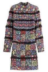 Valentino Floral Patchwork Silk Dress With Lace Trim Multicolor