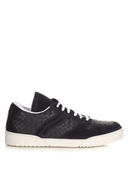Bottega Veneta Intrecciato Leather Low Top Trainers Navy