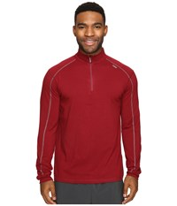 Tasc Performance Core 1 4 Zip Brick House Heather Gray Men's Long Sleeve Pullover Red