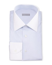 Stefano Ricci Contrast Collar Check Dress Shirt Blue Men's