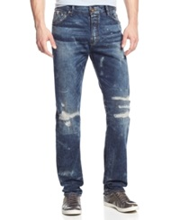 Guess Regular Fit Tapered Distressed Jeans Panorama Wash