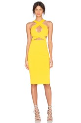 Donna Mizani Cross Front Midi Dress Yellow