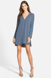 Astr V Neck Long Sleeve Shirtdress Blue