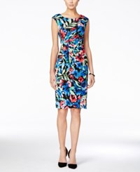 Connected Cap Sleeve Floral Print Gathered Sheath Dress Black Blue Floral