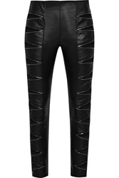 Saint Laurent Zip Detailed Cutout Leather Skinny Pants