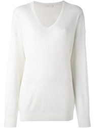 6397 V Neck Ribbed Jumper Nude And Neutrals