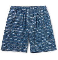 Beams Plus Printed Cotton Shorts Blue