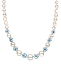 Lord And Taylor Sterling Silver Freshwater Pearl Blue White Topaz Necklace Blue Topaz