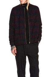 Zip Bomber Shirt In Red Checkered And Plaid