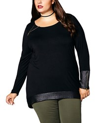 Mblm By Tess Holiday Plus Long Sleeve High Low Top Black