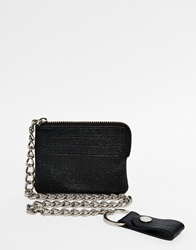 Asos Zip Around Leather Wallet In Black With Chain