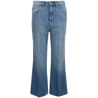 Marc By Marc Jacobs Women's Wide Leg Denim Trousers Crop Blue