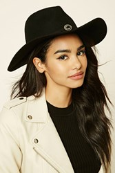 Forever 21 Faux Leather Band Fedora Black Silver