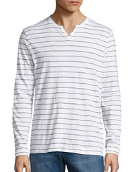 Kenneth Cole Slim Striped Henley Tee White