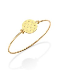 Michael Kors Heritage Monogram Logo Disc Bangle Bracelet Goldtone