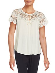 Ella Moss Lace Yoke Top Natural